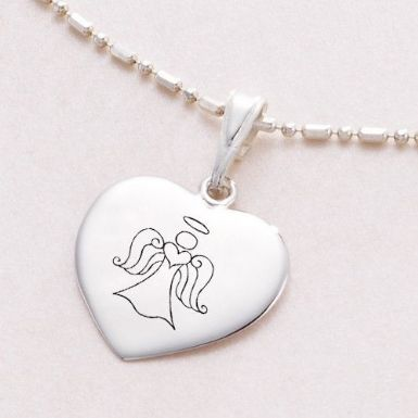 Sterling Silver Heart Necklace with Angel Engraving | Someone Remembered